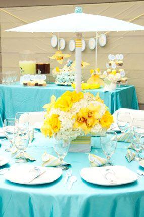 Aqua Blue And Yellow Elephant Baby Shower With Beautiful Flowers Elegant