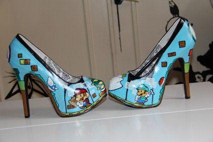 Mario & luigi paper game shoes heels custom by blacknorns on Etsy,