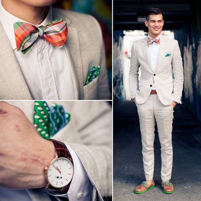 Check out this brilliant summer ensemble:  Linen Suit, Madras Plaid Bow Tie, Pocket Square and Boat Shoes.