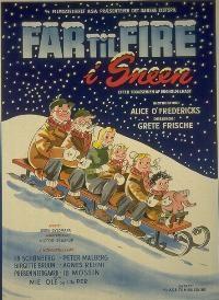 Far til fire i sneen (1954) familien kommer på vinterferie til Norge.