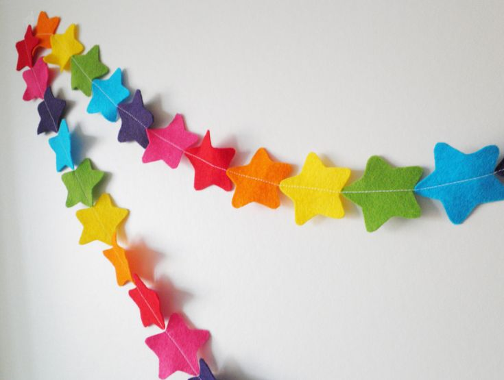 Rainbow Star Garland   Made With Wool Blend Felt In Bright Rainbow Colours,  Perfect For