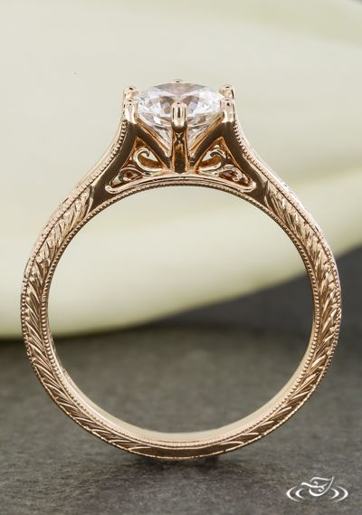Vintage Style Engagement Ring With Delicate Filigree Curls and Half Wheat Engraving. Green Lake Jewelry 106769
