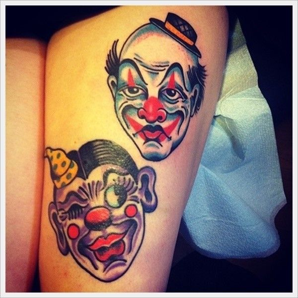 100+ Hilarious Clown Tattoos And Their Meanings cool  Check more at https://tattoorevolution.com/clown-tattoos-meanings/