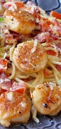 ((Zucchini noodles in place of spaghetti)). Creamy Garlic Scallop Spaghetti with Bacon - Rock Recipes - Rock Recipes