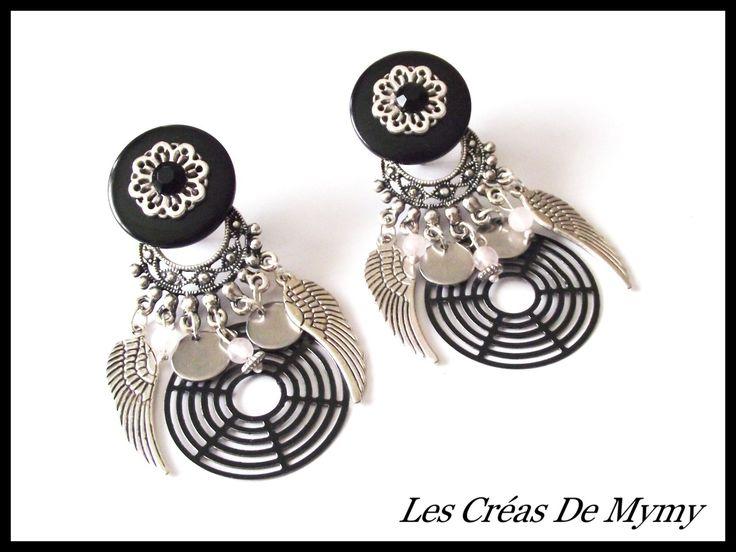 Grande Boucles d'oreilles a clips ailes d'ange ,acier,pierre quartz,noir : Boucles d'oreille par mimibibi