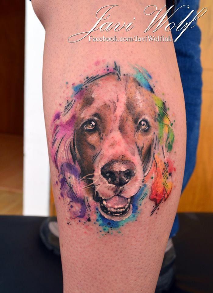 Watercolor-Sketch-Realistic-Dog Tattoo.  Tattooed by @javiwolfink  www.facebook.com/javiwolfink