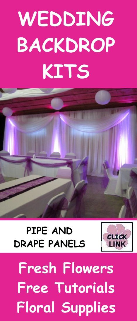http://www.wedding-flowers-and-reception-ideas.com/wedding-backdrop-panels.html - Easy DIY kits for decorating receptions. Backdrops, ceiling drapes, table skirting and more.