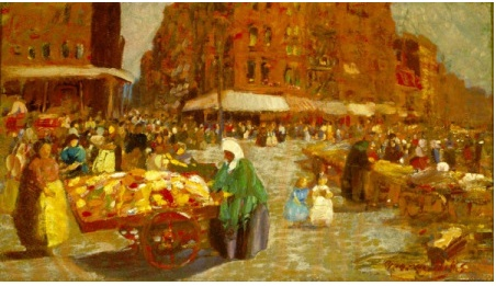 """I am partial to the """"Ashcan School."""" Had the good fortune to see a great, comprehensive exhibition of AS paintings a few years ago at the City Museum of New York. I am especially fond of John Sloan, but at this moment I somehow focused on George Luks' """"Houston Street,"""" 1916."""