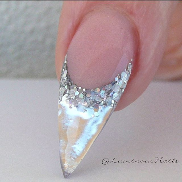 Metallic Silver Feature  With Minx Silver Lightening, Glitter Heaven Silver-ish Glitter. #luminous #mirroreffect #metallic #silver #incased #luminousnails #nailartist #nailartbook #shiny #glossy
