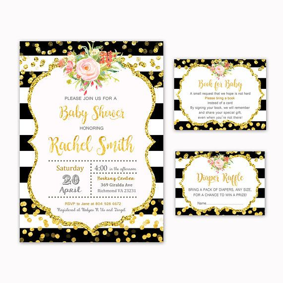 Floral Baby Shower Invitation  Book for Baby  Diaper