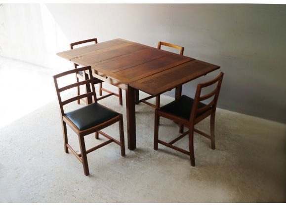 Table A Manger En Chene Massif Et 4 Chaises Arts And Crafts