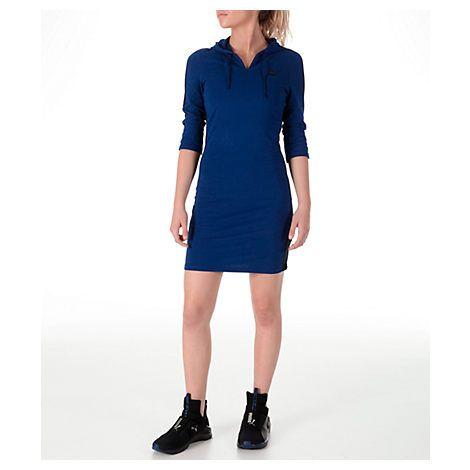 PUMA WOMEN'S T7 HOODED DRESS, BLUE. #puma #cloth #