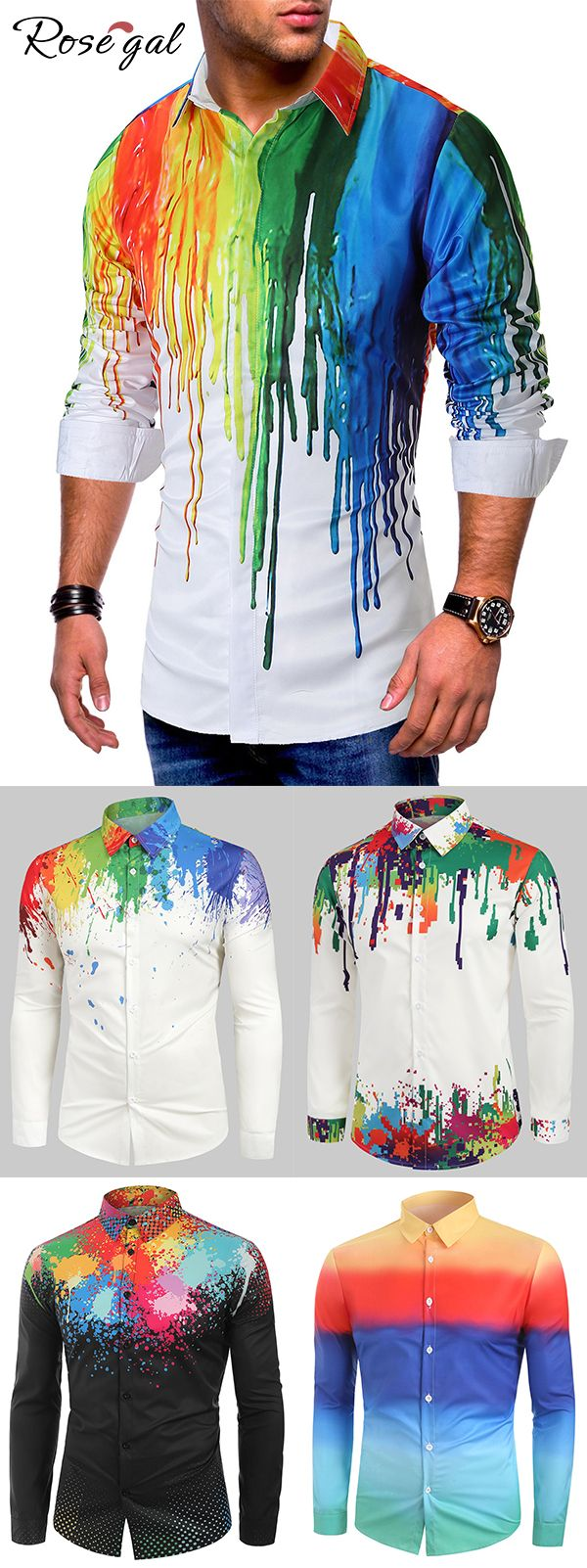 Rosegal Colorful Painting Splatter Print Long Sleeves Casual Shirt mens outfits ideas 3