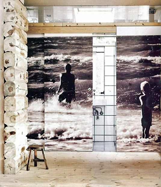 "Bathroom in beach house w/ photo ""mural"" over sliding door"