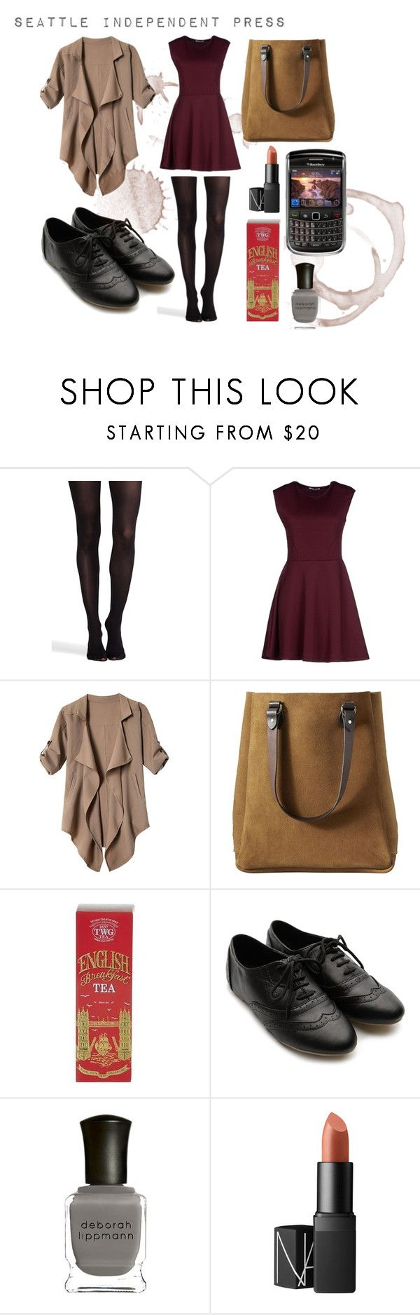 """Anastasia Steele Look"" by alyssamg97 on Polyvore featuring SPANX, Hope Collection, Filson, TWG Tea Company, Ollio, Deborah Lippmann and NARS Cosmetics"