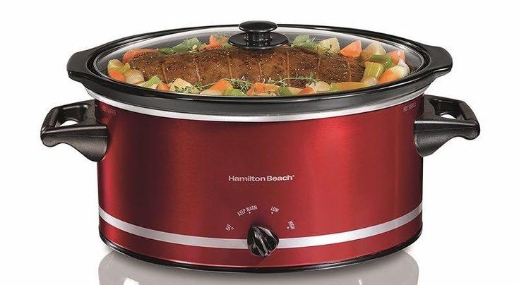 Hamilton Beach 8 Quart Large Slow Cooker Crock Pot Crockpot RED Oval Manual #HamiltonBeach