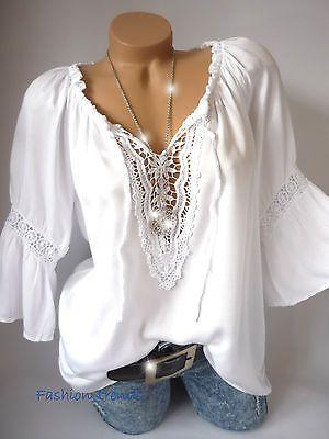 Italy Vintage Häkel Spitze Tunika Bluse Shirt Top Lagenlook*Weiß*M L XL-38 40 42