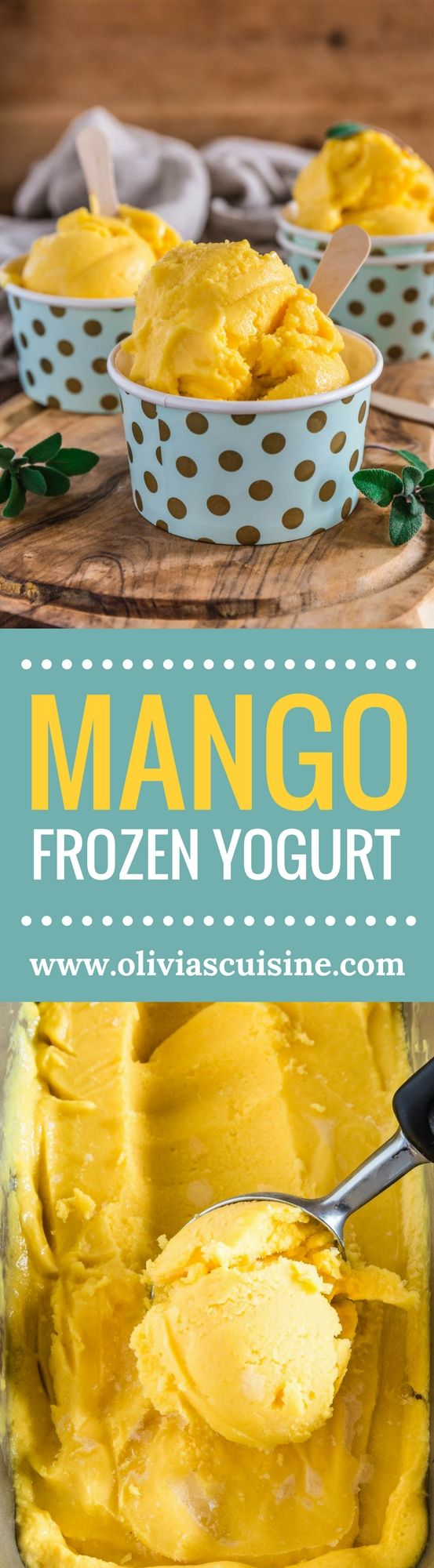Mango Frozen Yogurt | www.oliviascuisine.com | Luscious, creamy and tangy, this Mango Frozen Yogurt is everything you need on a hot summer day! And the best part? No ice cream machine necessary! (Recipe by @oliviascuisine.) #sponsored #MomBlogTourFF