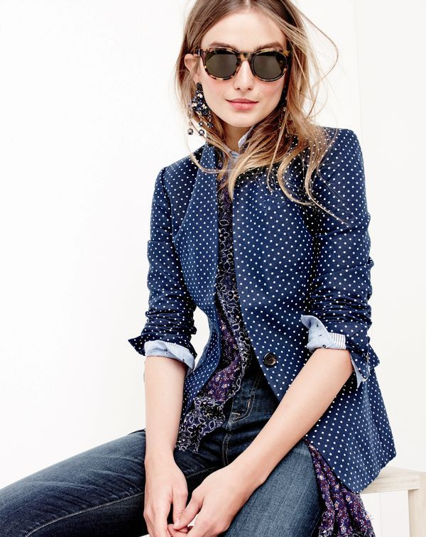 J.Crew women's Regent blazer in small polka-dot linen, perfect shirt in embroidered dot, Point Sur hightower skinny jean in Drifter wash, Sam sunglasses, midnight floral earrings and men's double-layer patterned scarf.