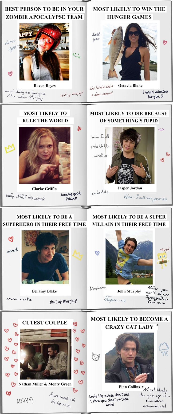 The 100 modern AU where Wells gets his yearbook back with some comments || Delinquents || Raven Reyes, Octavia Blake, Clarke Griffin, Jasper Jordan, Bellamy Blake, John Murphy, Monty Green, Nathan Miller, Finn Collins, Wells Jaha || Minty, Murphamy, Bellarke, Murven || Lindsey Morgan, Marie Avgeropoulos, Eliza Jane Taylor, Devon Bostick, Bob Morley, Richard Harmon, Christopher Larkin, Jarod Joseph, Thomas McDonell, Eli Goree
