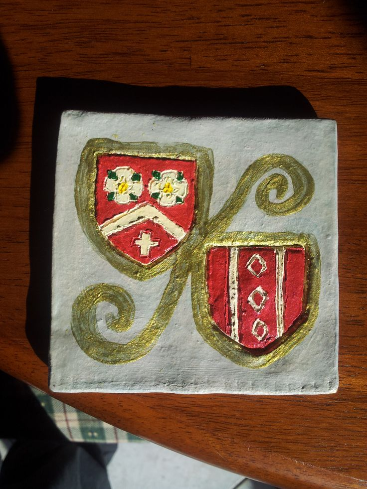 Ceramic tile with my two dearest friends' Heraldic Devices on it.  Occasion: WEDDING!!  Painted with water based acrylics and varnished with spray on varnish stuff.
