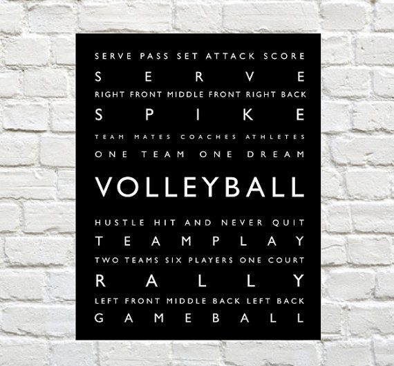 Volleyball - Sports Decor - Volleyball Typography Prints can be Personalized to include your Athletes Name. Motivational words to celebrate and inspire your player. Explore our entire collection of Sports Typography Prints to celebrate the Athlete in your life. #Volleyball