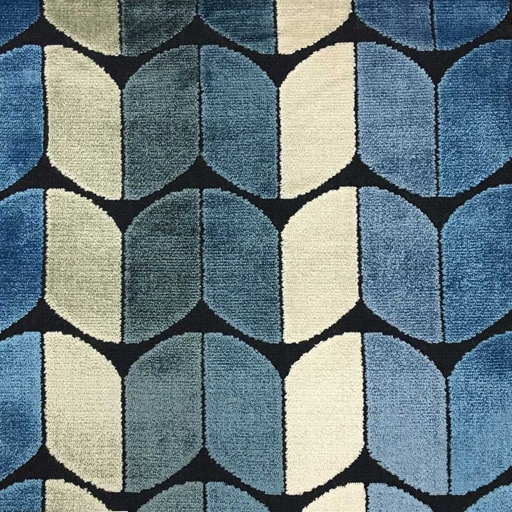 Holland - Arrow Cut Velvet Fabric Upholstery Fabric by the Yard - Available in 13 Colors - Indigo - Top Fabric - 12