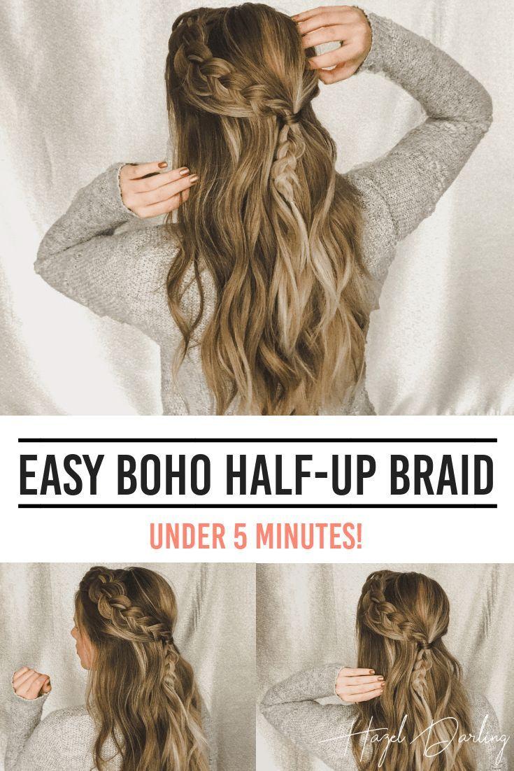 EASY Boho Half Up Braid - LAZY DAY HAIRSTYLE#Boho #Braid #BraidHairStyle #BraidHairStyleideas #cuteBraidHairStyle