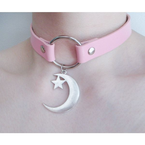 pastel goth moon choker ($20) ❤ liked on Polyvore featuring jewelry, necklaces, gothic chokers, pink necklace, pendant choker necklace, star pendant necklace and leather necklaces