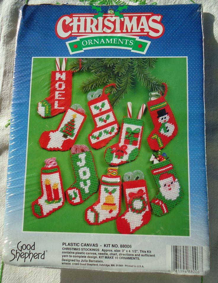 """10 """"CHRISTMAS STOCKINGS"""" PLASTIC CANVAS ORNAMENT KIT~ GOOD SHEPHERD ~NEW ~ESTATE #GOODSHEPHERD"""