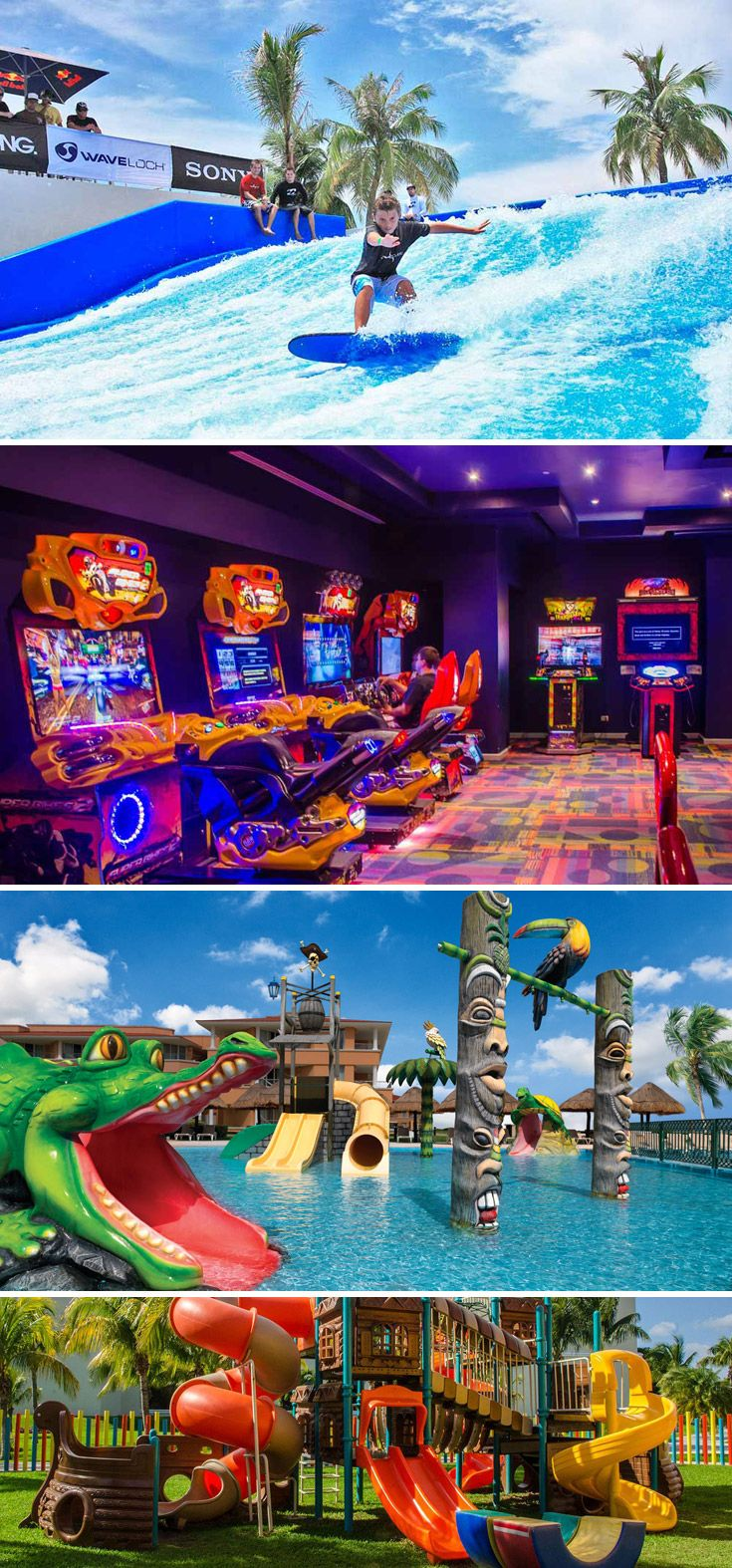 The Moon Palace Cancun offers activities for kids of all ages.  A kids club for children ages 4-12, the Wired Teen Lounge, and the Flowrider will keep your kids entertained!