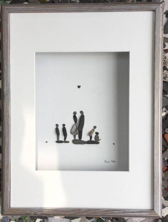 Pebble Art Family of Five in Shadow Box Frame Modern Wall Art