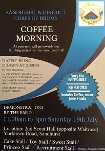 Coffee, Cake & Drum Rolls Saturday July 19th 2014. 11:00 am - 3:00 pm 2nd Sandhurst Scout Hut, College Town, Berkshire http://www.berkshireeventsguide.co.uk/events/coffee-cake-drum-rolls/