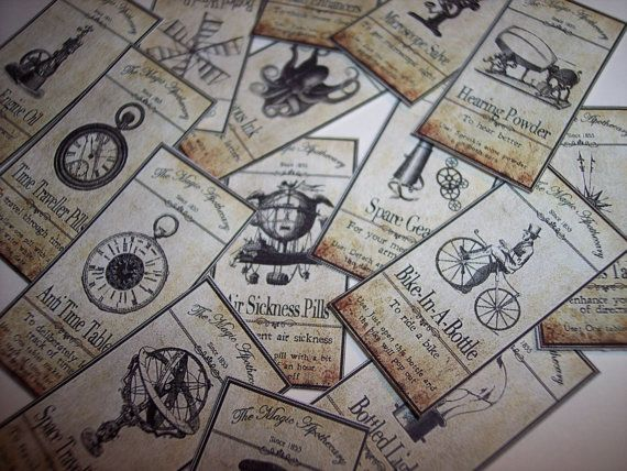 Steampunk Apothecary Sticker Labels Set of 15 by mreguera on Etsy