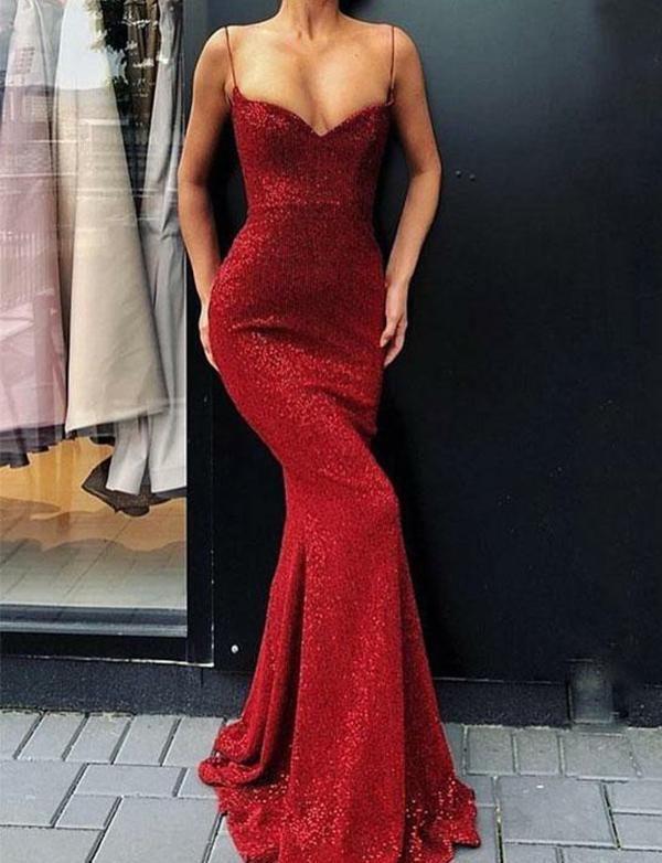 e1105a97b20 Mermaid Spaghetti Strap Prom Dresses Red Sequin Sheath Evening Dresses Prom