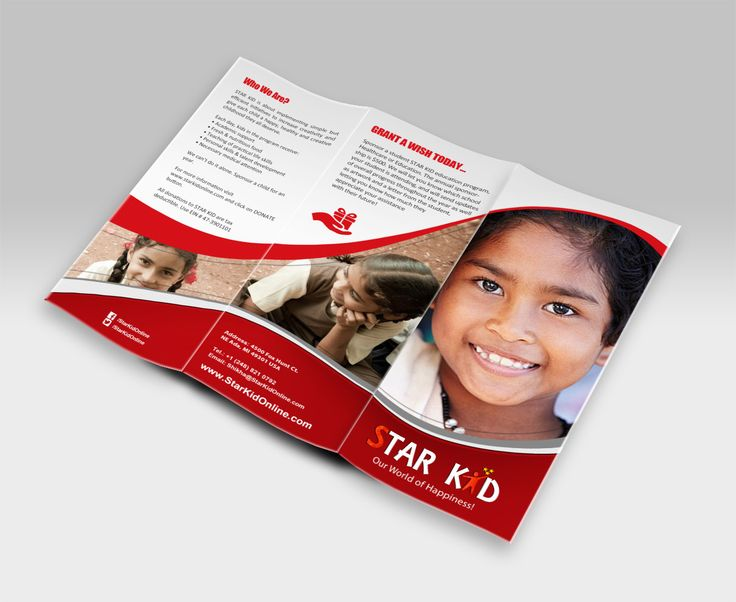 Brochures are very important advertising materials for businesses. Check out this colorful, creative and eye-catching tri-fold brochure design by Vinay Bakshi Designs for Michigan, USA based charity organization Star Kid.
