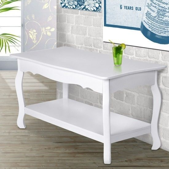 White Coffee Table High Gloss Furniture Storage Shelf French Style Tea  Table New
