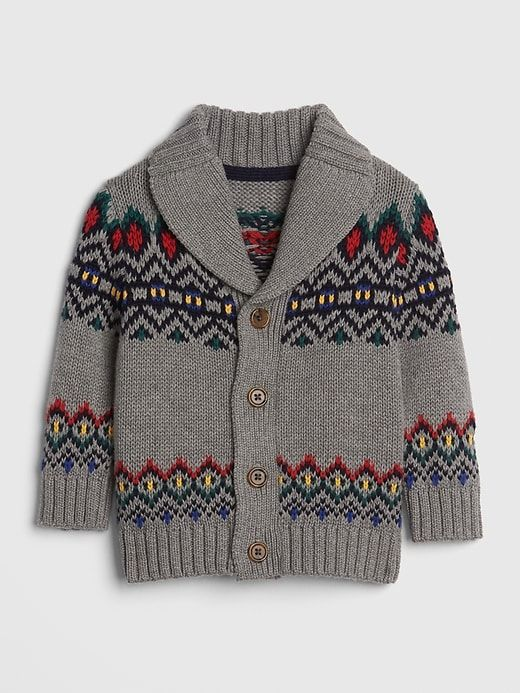3b756e6c1 Gap Babies  Mountain Fair Isle Shawl-Collar Cardigan Sweater Grey ...