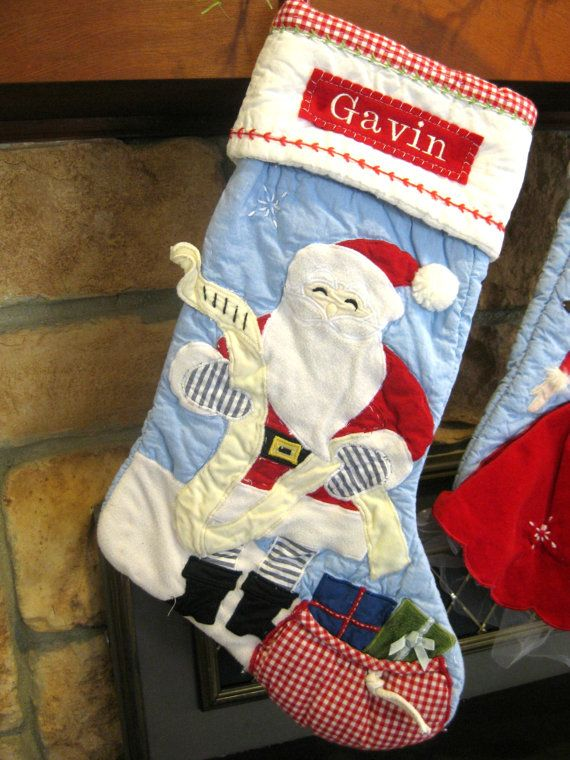 Personalized Stocking Pottery Barn Quilted by BenLovesBirdy