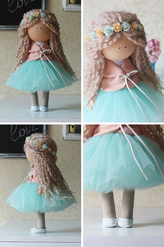 Blonde green doll Love doll Handmade doll Collectable doll
