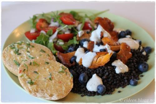 Vegansk og glutenfri middag: Sorte linser, kantareller m.m. :) (~Eldeen~)