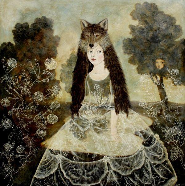 Wolf Girl 48 x 48, on panel ~ Anne Siems, Artist