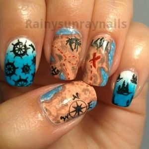 Creative nail art! Pirate nails by Kristin Day. Perfect for a birthday party!