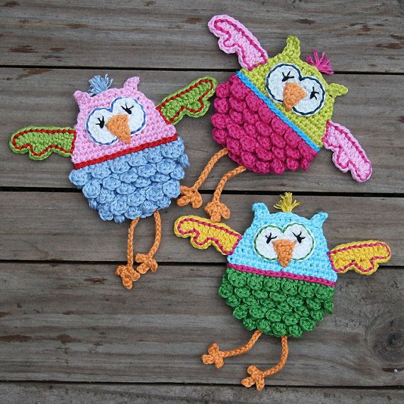 OLWBERTA Owl Crochet Patrón Apliques PDF por CAROcreated en Etsy