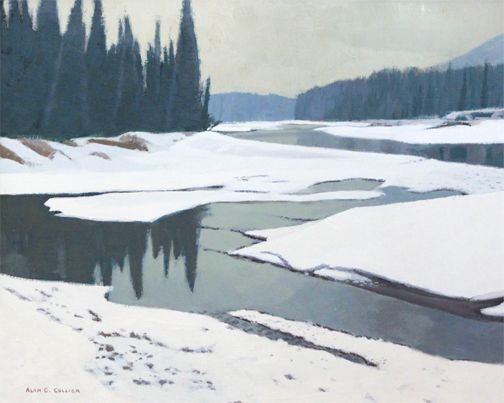 Alan Collier - Bow River In March 16 x 20 Oil on masonite
