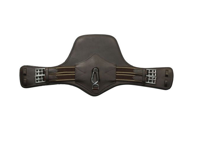 Flexi-Fit Gel Padded Leather Stud Guard Girth Short - Havana Brown & Stainless Steel