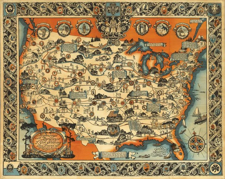 22 best antique world map art poster print images on pinterest vintage historical map highways and byways of girl scouting map 1927 home wall art decor canvas gumiabroncs Gallery