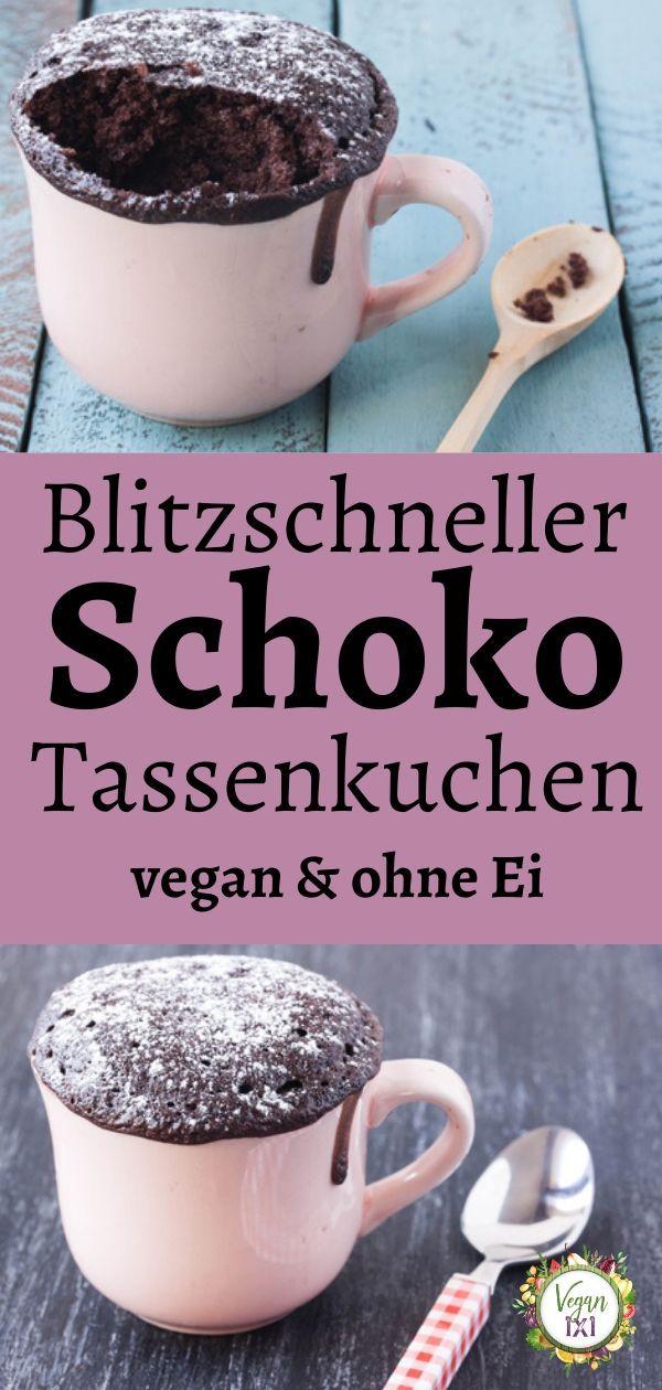 Veganer Tassenkuchen ohne Ei - schokoladig cremig   Tassen kuchen, Veganer tassenkuchen, Tassenkuchen rezept