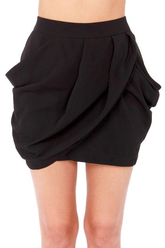 PURCHASED Tulip drape skirt from Alice & Olivia. Lovely Layers Black Tulip Skirt at LuLus.com!  #lulus #holidaywear