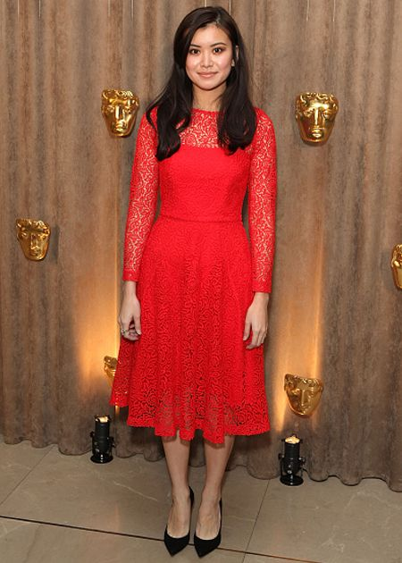 Katie Leung wears the REISS Rhomona floral lace dress